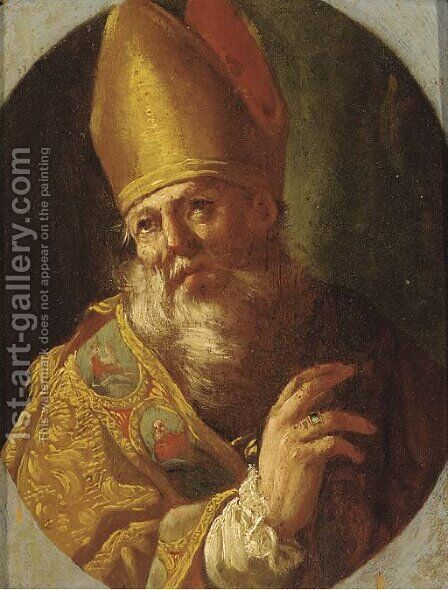 A Bishop Saint by (after) Luca Giordano - Reproduction Oil Painting