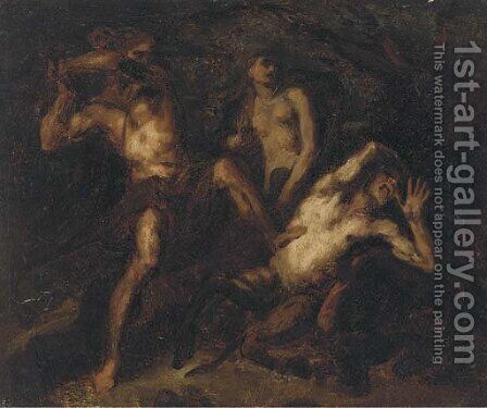 Two satyrs in combat by (after) Luca Giordano - Reproduction Oil Painting