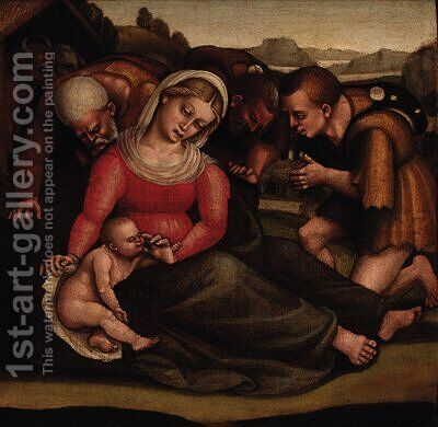 The Adoration of the Shepherds by (after) Luca Signorelli - Reproduction Oil Painting