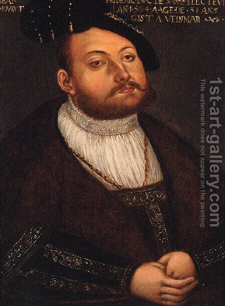 Portrait of Johann Friedrich, Elector of Saxony by (after) Lucas The Younger Cranach - Reproduction Oil Painting