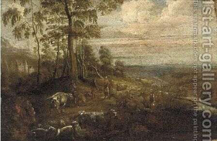 An extensive landscape with figures and cattle by a river, a castle in the distance by (after) Lucas Van Uden - Reproduction Oil Painting