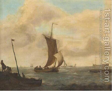 A coastal landscape with shipping in choppy waters by (after) Ludolf Backhuysen - Reproduction Oil Painting