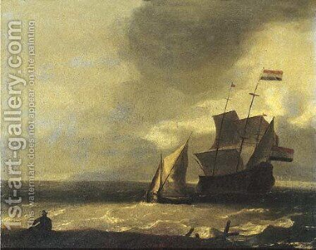 A fisherman on the beach watching a three-master and a smalschip in a gale by (after) Ludolf Backhuysen - Reproduction Oil Painting