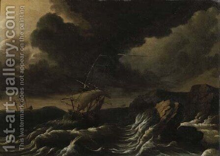 Dutch three-masters off a rocky coast in a gale by (after) Ludolf Backhuysen - Reproduction Oil Painting