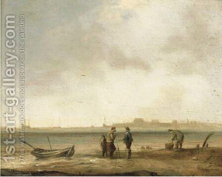 A coastal landscape with fishermen with their catch in the foreground by (after) Ludolf Backhuysen - Reproduction Oil Painting