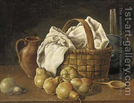 An earthenware jug, a basket with a white table-cloth by (after) Luis Eugenio Melendez - Reproduction Oil Painting
