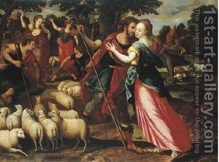 Jacob and Rachel at the Well by (after) Maerten De Vos - Reproduction Oil Painting