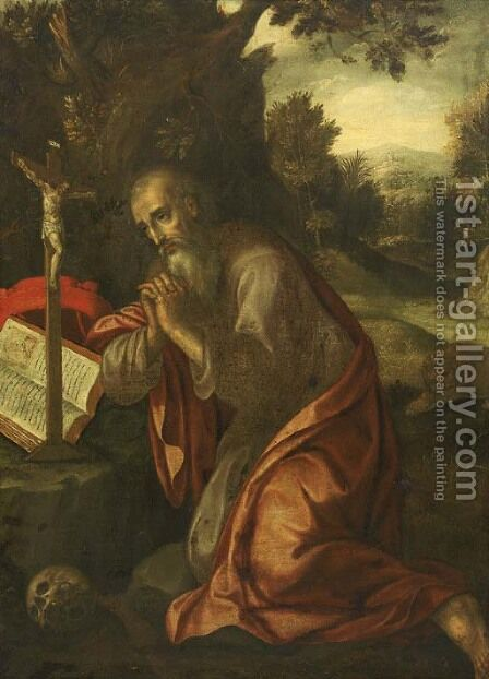 The penitent Saint Jerome by (after) Maerten De Vos - Reproduction Oil Painting