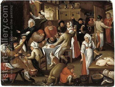 Peasants feasting and making music in an inn by (after) Marten Van Cleve - Reproduction Oil Painting