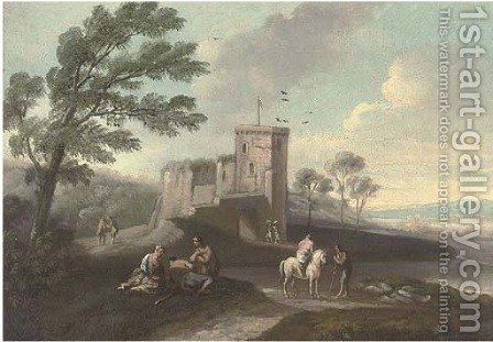 A coastal landscape with travellers at halt by a tower by (after) Marco Ricci - Reproduction Oil Painting