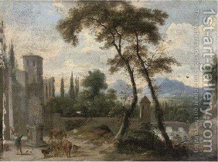 A river landscape with a turretted bridge and a drover by a statue by (after) Marco Ricci - Reproduction Oil Painting