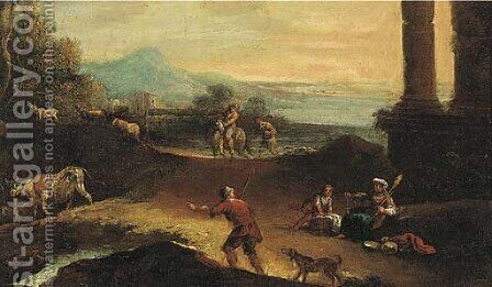 An extensive landscape with shepherds and other figures by classical ruins by (after) Marco Ricci - Reproduction Oil Painting