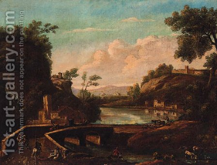 An Italianate river landscape with travellers and a drover crossing a bridge by (after) Marco Ricci - Reproduction Oil Painting