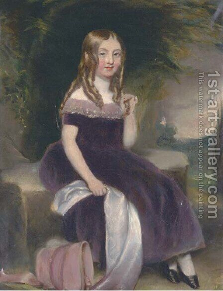 Portrait of a girl 2 by (after) Margaret Sarah Carpenter - Reproduction Oil Painting