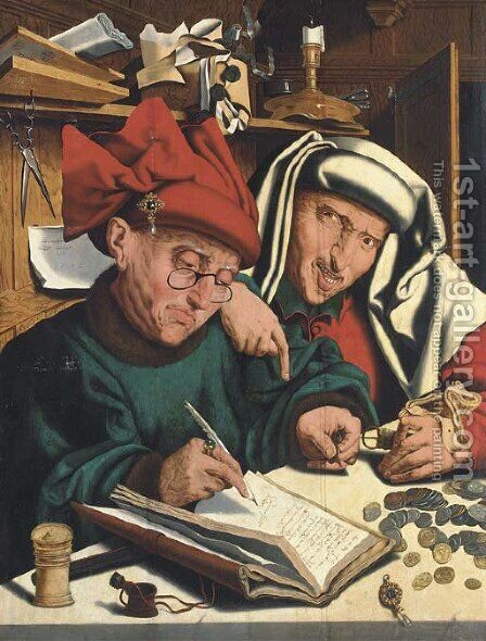 Two tax gatherers 3 by (after) Marinus Van Reymerswaele - Reproduction Oil Painting
