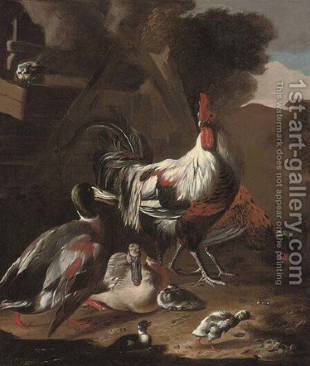 A cockerel, hen, ducks, chicks and blue tit in a farmyard by (after) Marmaduke Craddock - Reproduction Oil Painting