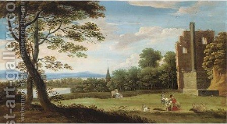 A wooded landscape with classical ruins, a milkmaid with goats and a lake beyond by (after) Marten Ryckaert - Reproduction Oil Painting