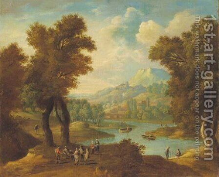 A rocky wooded landscape with peasants conversing on a track by (after) Mathys Schoevaerts - Reproduction Oil Painting