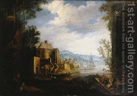 Merchants and townsfolk on a quay in a Mediterranean harbour by (after) Matthys Schoevaerdts - Reproduction Oil Painting