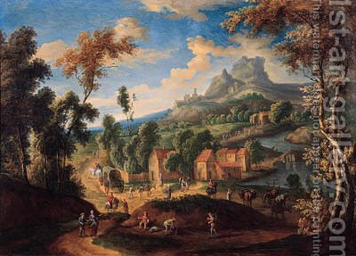 Peasants and travellers on a road by a village in a mountainous landscape by (after) Matthys Schoevaerdts - Reproduction Oil Painting
