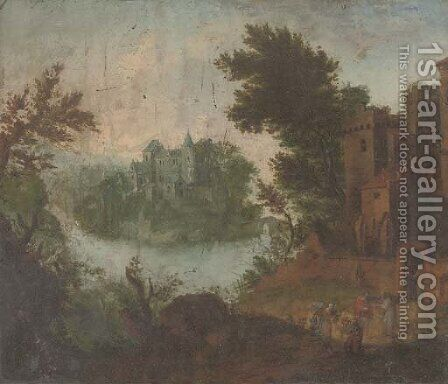 A landscape with Tobit and Anna by (after) Matthys Schoevaerts - Reproduction Oil Painting
