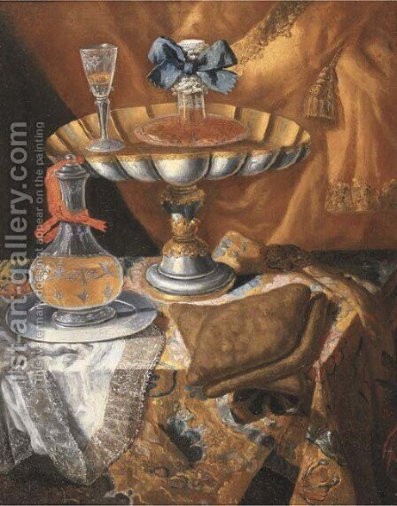 A wine glass on a silver-gilt tazza by (after) Maximillian Pfeiler - Reproduction Oil Painting