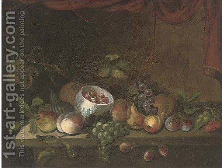 Grapes, pears, apples, plums, cherries, peaches, and a bowl by (after) Maximillian Pfeiler - Reproduction Oil Painting