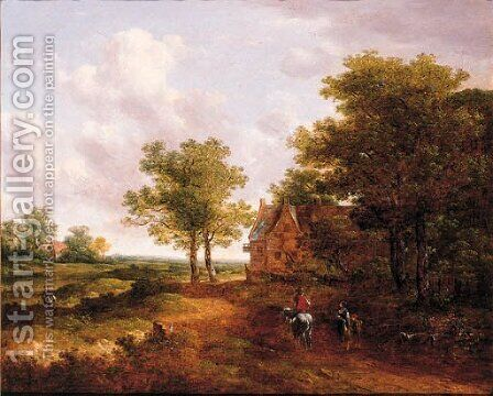 A traveller conversing with a peasantwoman on a track by an inn by (after) Meindert Hobbema - Reproduction Oil Painting