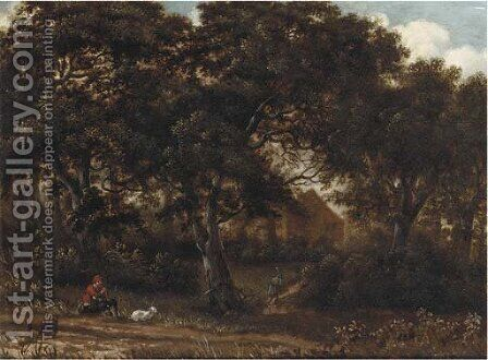 A wooded landscape with a herdsman playing a flute, a traveller on a path toward a house beyond by (after) Meindert Hobbema - Reproduction Oil Painting
