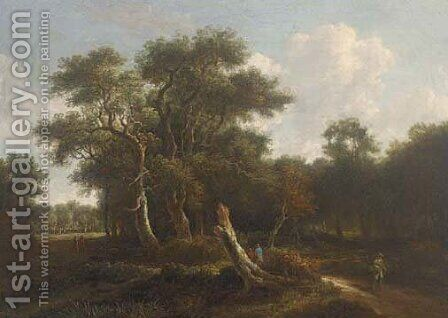 A wooded landscape with travellers on a path by (after) Meindert Hobbema - Reproduction Oil Painting