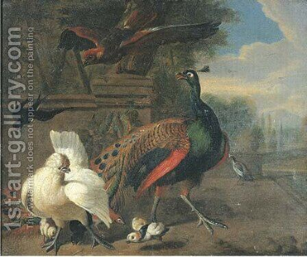 A peacock, a white hen and chickens by (after) Melchior De Hondecoeter - Reproduction Oil Painting