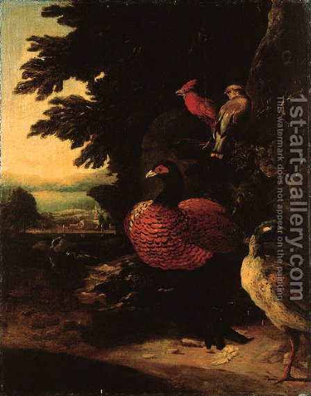 Poultry on a riverbank by a cliff, a landscape beyond by (after) Melchior De Hondecoeter - Reproduction Oil Painting