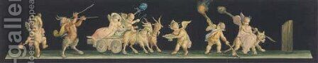 Putti driving a chariot drawn by goats by (after) Michaelangelo Maestri - Reproduction Oil Painting