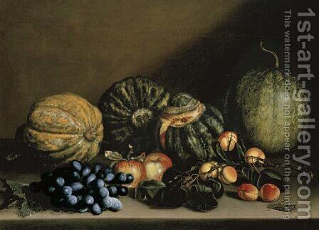 Melons, apricots, grapes and apples on a stone ledge by (after) Michelangelo Merisi Da Caravaggio - Reproduction Oil Painting
