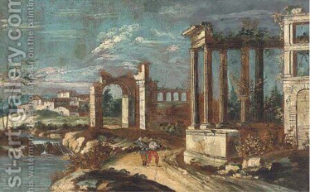 A capriccio of classical ruins with peasants on a track by (after) Michele Marieschi - Reproduction Oil Painting