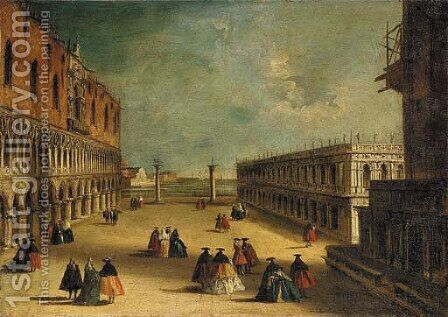 View of the Piazzetta, Venice, looking South, with masked figures by (after) Michele Marieschi - Reproduction Oil Painting
