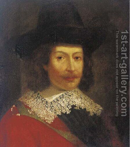 Portrait of a gentleman, bust-length, in a black hat by (after) Michiel Jansz. Van Mierevelt - Reproduction Oil Painting