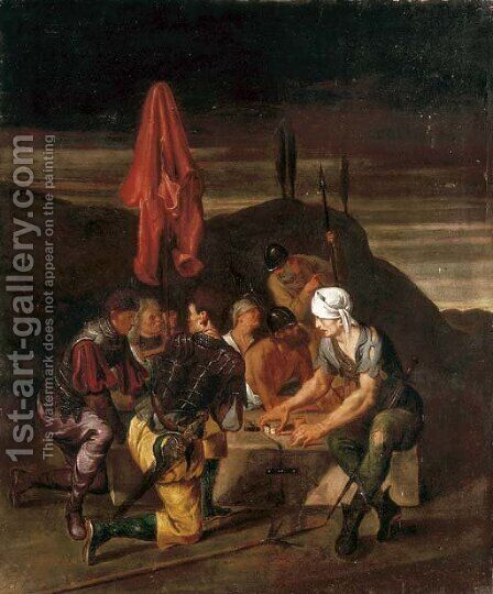 Soldiers gaming at Calvary by (after) Michiel Sweerts - Reproduction Oil Painting
