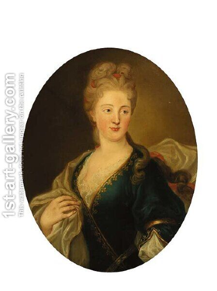 Portrait of a lady, half-length, in a blue dress and white wrap by (after) Largilliere, Nicholas de - Reproduction Oil Painting
