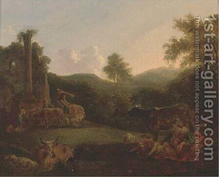 A wooded landscape with a shepherd resting with his flock and drovers and their cattle by classical ruins by (after) Nicolaes Berchem - Reproduction Oil Painting