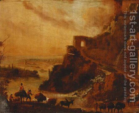 Drovers with cattle in a rocky Italianate landscape by (after) Nicolaes Berchem - Reproduction Oil Painting