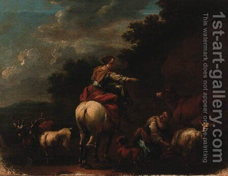Drovers With Goats And A Cow In A Landscape by (after) Nicolaes Berchem - Reproduction Oil Painting