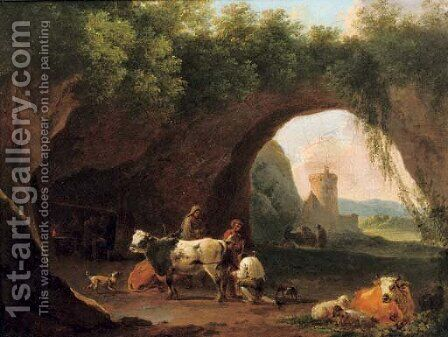 Peasants with their cattle and sheep by the entrance to a grotto by (after) Nicolaes Berchem - Reproduction Oil Painting