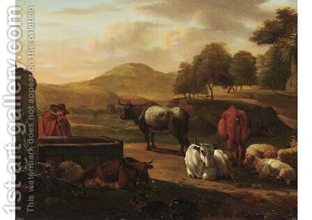 A shepherd drinking water from a fountain, cattle and sheep nearby, in a mountainous landscape by (after) Nicolaes Berchem - Reproduction Oil Painting