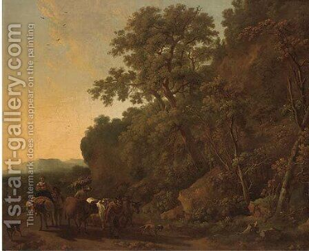 A wooded landscape with a drover and his cattle with other travellers on a track by (after) Nicolaes Berchem - Reproduction Oil Painting