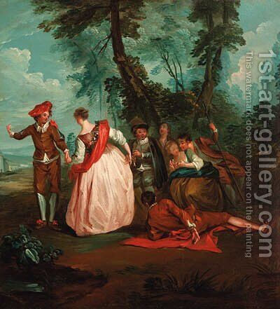 A Fte Champtre by (after) Lancret, Nicolas - Reproduction Oil Painting