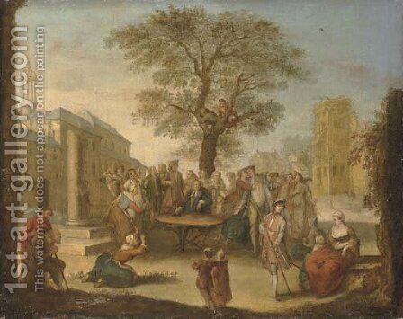 A meeting in a town square by (after) Lancret, Nicolas - Reproduction Oil Painting