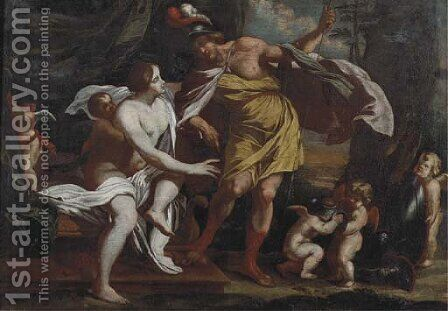 Mars and Venus and putti playing with armour by (after) Nicolaus Knupfer - Reproduction Oil Painting