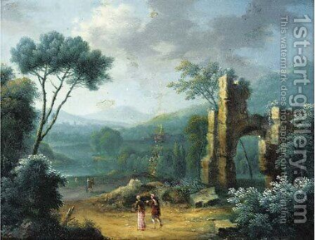 A wooded landscape with figures on a path by classical ruins by (after) Norbert Joseph Carl Grund - Reproduction Oil Painting