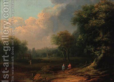 A wooded landscape with travellers resting on a track by a tree by (after) Norbert Joseph Carl Grund - Reproduction Oil Painting